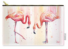 Two Flamingos Watercolor Carry-all Pouch by Olga Shvartsur