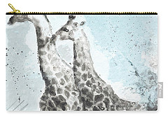 Two Giraffes- Art By Linda Woods Carry-all Pouch by Linda Woods
