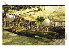 Two Ibises On A Log Carry-all Pouch by Carol Groenen