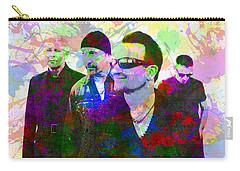 U2 Band Portrait Paint Splatters Pop Art Carry-all Pouch by Design Turnpike