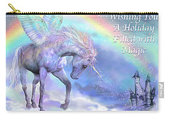 Unicorn Of The Rainbow Card Carry-all Pouch by Carol Cavalaris
