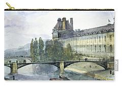 View Of The Pavillon De Flore Of The Louvre Carry-all Pouch by Francois-Marius Granet