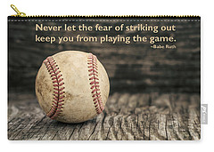 Vintage Baseball Babe Ruth Quote Carry-all Pouch by Terry DeLuco