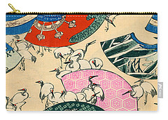 Vintage Japanese Illustration Of Fans And Cranes Carry-all Pouch by Japanese School