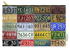 Vintage License Plates From Michigan's Rich Automotive Past Carry-all Pouch by Design Turnpike