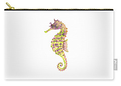 Violet Green Seahorse - Square Carry-all Pouch by Amy Kirkpatrick