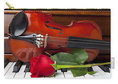Violin With Rose On Piano Carry-all Pouch by Garry Gay