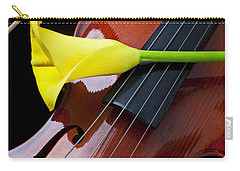 Violin With Yellow Calla Lily Carry-all Pouch by Garry Gay
