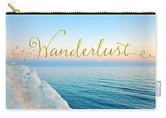 Wanderlust, Santorini Greece Ocean Coastal Sentiment Art Carry-all Pouch by Tina Lavoie