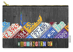 Washington Dc Skyline Recycled Vintage License Plate Art Carry-all Pouch by Design Turnpike
