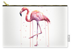 Watercolor Flamingo Carry-all Pouch by Olga Shvartsur