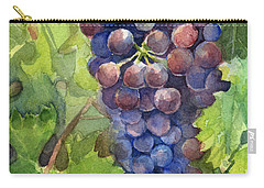Watercolor Grapes Painting Carry-all Pouch by Olga Shvartsur