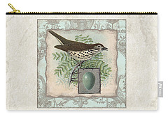 Welcome To Our Nest - Vintage Bird W Egg Carry-all Pouch by Audrey Jeanne Roberts