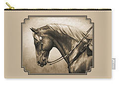 Western Horse Painting In Sepia Carry-all Pouch by Crista Forest