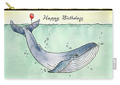 Whale Happy Birthday Card Carry-all Pouch by Katrina Davis