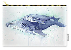 Whales Humpback Watercolor Mom And Baby Carry-all Pouch by Olga Shvartsur