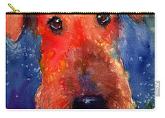 Whimsical Airedale Dog Painting Carry-all Pouch by Svetlana Novikova