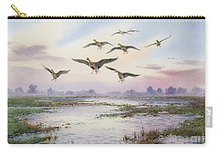 White-fronted Geese Alighting Carry-all Pouch by Carl Donner