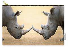 White Rhinoceros  Head To Head Carry-all Pouch by Johan Swanepoel