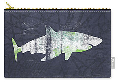 White Shark- Art By Linda Woods Carry-all Pouch by Linda Woods