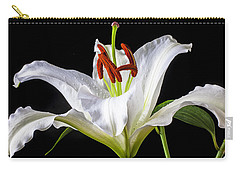 White Tiger Lily Still Life Carry-all Pouch by Garry Gay