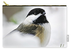 White Winter Chickadee Carry-all Pouch by Christina Rollo
