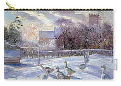 Winter Geese In Church Meadow Carry-all Pouch by Timothy Easton