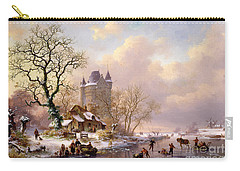 Winter Landscape With Castle Carry-all Pouch by Frederick Marianus Kruseman