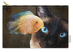 Wishful Thinking 2 - Siamese Cat Art - Sharon Cummings Carry-all Pouch by Sharon Cummings