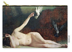 Woman With Pigeons Carry-all Pouch by Ernst Philippe Zacharie
