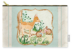 Woodland Fairy Tale - Deer Fawn Baby Bunny Rabbits In Forest Carry-all Pouch by Audrey Jeanne Roberts