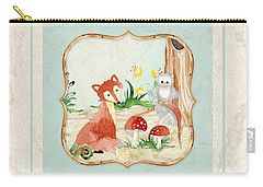 Woodland Fairy Tale - Fox Owl Mushroom Forest Carry-all Pouch by Audrey Jeanne Roberts