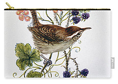 Wren On A Spray Of Berries Carry-all Pouch by Nell Hill
