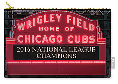 Wrigley Field Marquee Cubs Champs 2016 Front Carry-all Pouch by Steve Gadomski