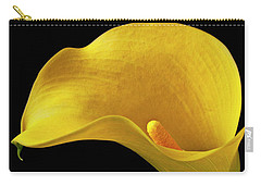 Yellow Calla Lily In Black And White Vase Carry-all Pouch by Garry Gay
