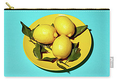 Yellow Lemons On Cyan Carry-all Pouch by Oleg Cherneikin