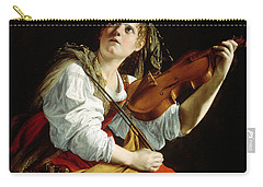 Young Woman With A Violin Carry-all Pouch by Orazio Gentileschi