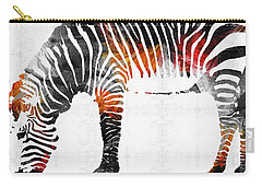 Zebra Black White And Red Orange By Sharon Cummings  Carry-all Pouch by Sharon Cummings