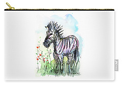 Zebra Painting Watercolor Sketch Carry-all Pouch by Olga Shvartsur