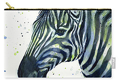 Zebra Watercolor Blue Green  Carry-all Pouch by Olga Shvartsur