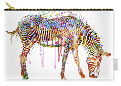 Zebra Watercolor Painting Carry-all Pouch by Marian Voicu