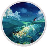 A Place I'd Rather Be - Caribbean Tarpon Fish Fly Fishing Painting Round Beach Towel by Savlen Art