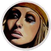 Christina Aguilera Painting Round Beach Towel by Paul Meijering