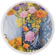 Iris And Pinks In A Japanese Vase With Pears Round Beach Towel by Joan Thewsey