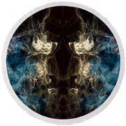 Minotaur Smoke Abstract Round Beach Towel by Edward Fielding