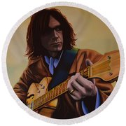 Neil Young Painting Round Beach Towel by Paul Meijering