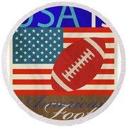 Usa Is American Football Round Beach Towel by Joost Hogervorst