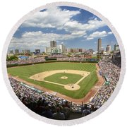 0415 Wrigley Field Chicago Round Beach Towel by Steve Sturgill