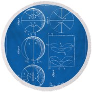 1929 Basketball Patent Artwork - Blueprint Round Beach Towel by Nikki Marie Smith