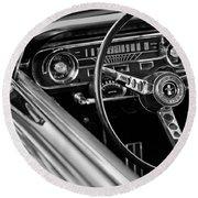1965 Shelby Prototype Ford Mustang Steering Wheel Round Beach Towel by Jill Reger